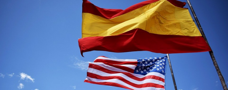 flags, Spain, USA