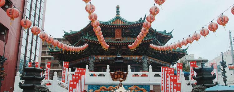 edificio, guirnaldas, china
