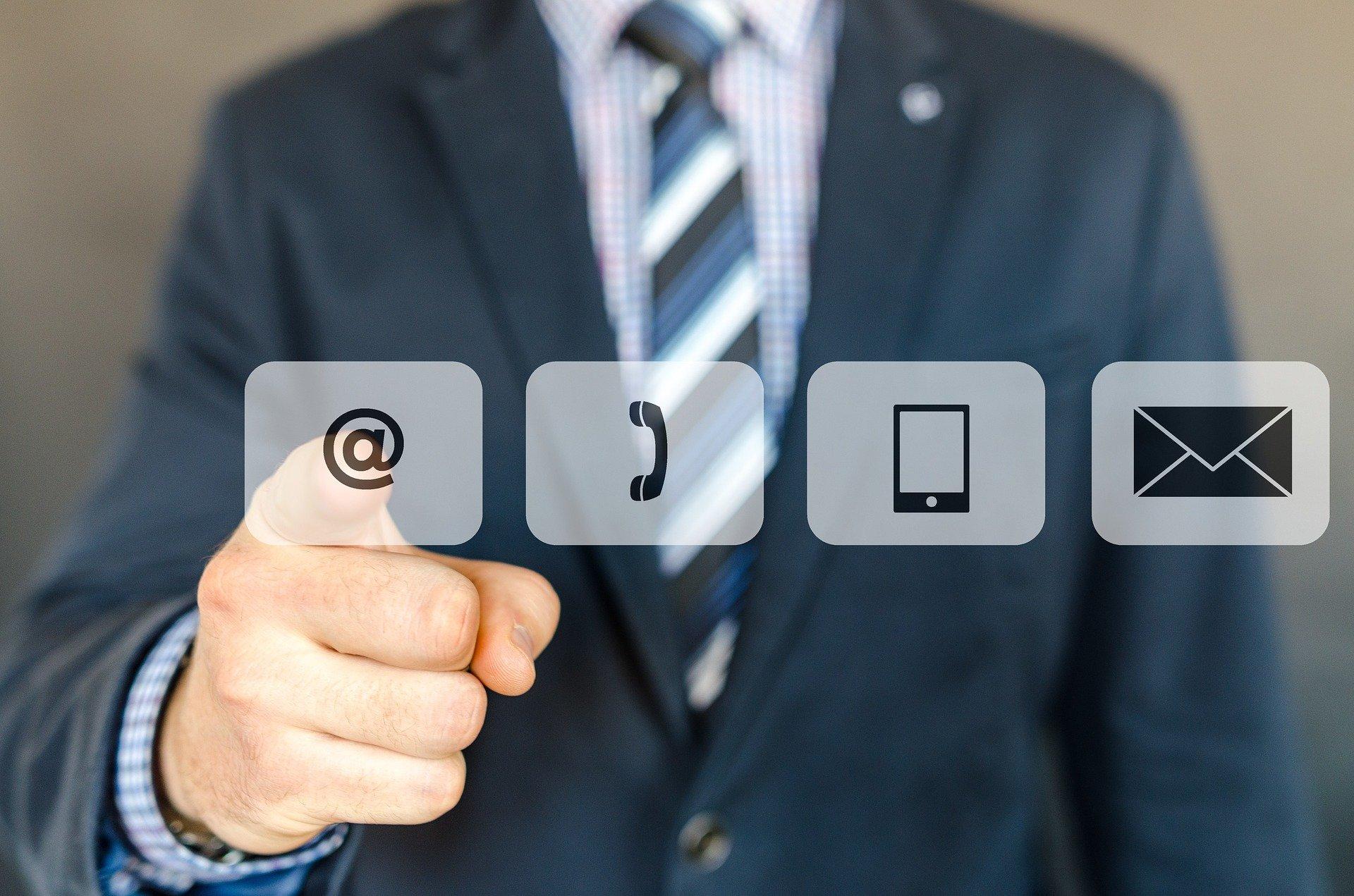 contactar, envío, email, teléfono, tablet