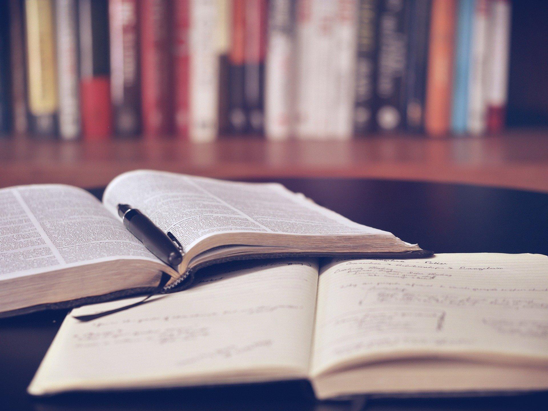 libro abierto, notas, bolígrafo