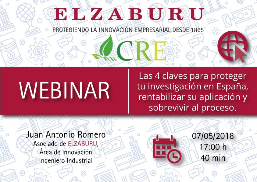Webinar sobre las 4 claves para proteger tu investigación en España, rentabilizar su aplicación y sobrevivir al proceso (Elzaburu)