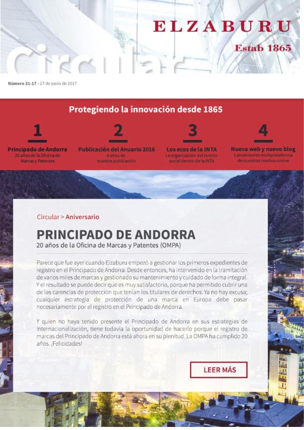 Circular 31-17: Aniversario Principado de Andorra; Publicación Anuario Elzaburu 2016; Los ecos de la INTA; Nueva web y nuevo blog