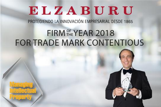 "ELZABURU recibe el premio Firm of the Year for Trade Mark Contentious en España = ELZABURU receives MIP award ""Spain Firm of the Year for Trade Mark Contentious"""